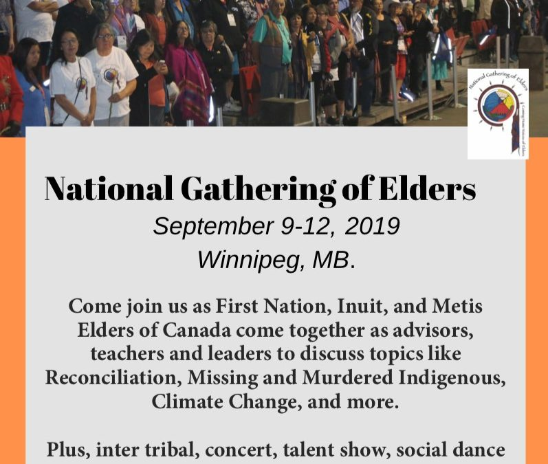 National Gathering of Elders taking place in Winnipeg from September 9 to 12, 2019