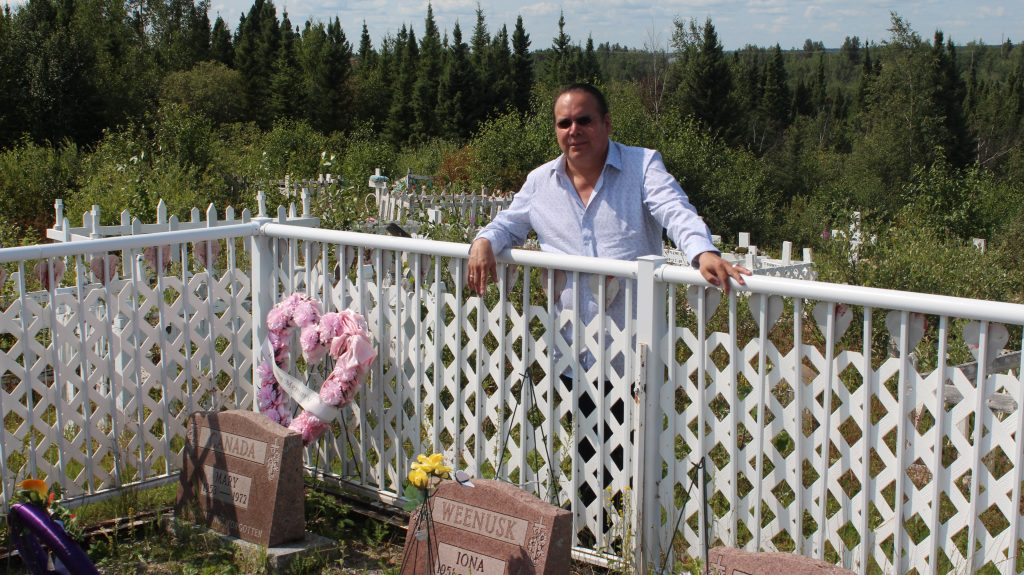 Grand Chief Settee in a graveyard