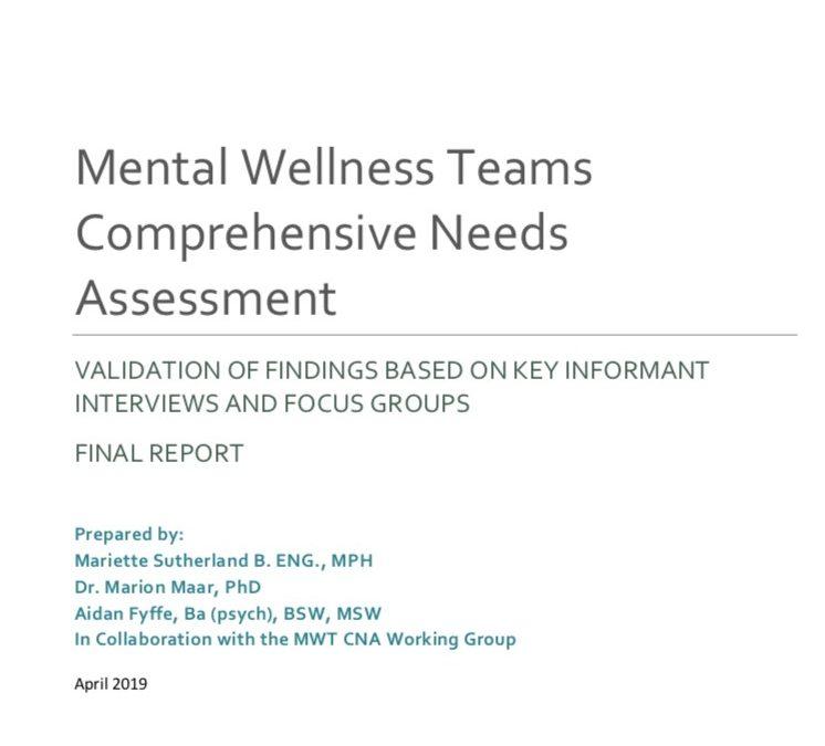 New report: Mental Wellness Teams Comprehensive Needs Assessment