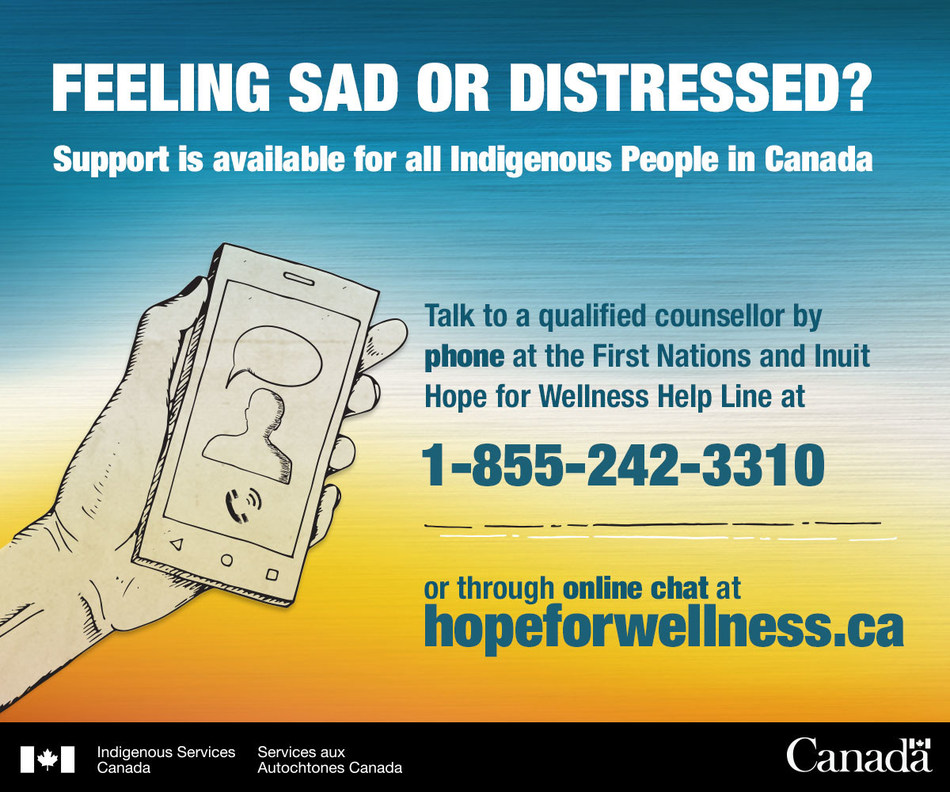 Feeling Sad or Distressed? This image gives the number for a help line: 1-855-242-3316