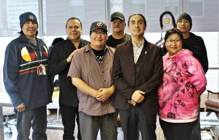Grand Chiefs Settee and Dumas with Chief and Councillors from Marcel Colomb First Nation