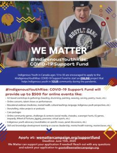We Matter #IndigenousYouthRise COVID-19 Support Fund Poster