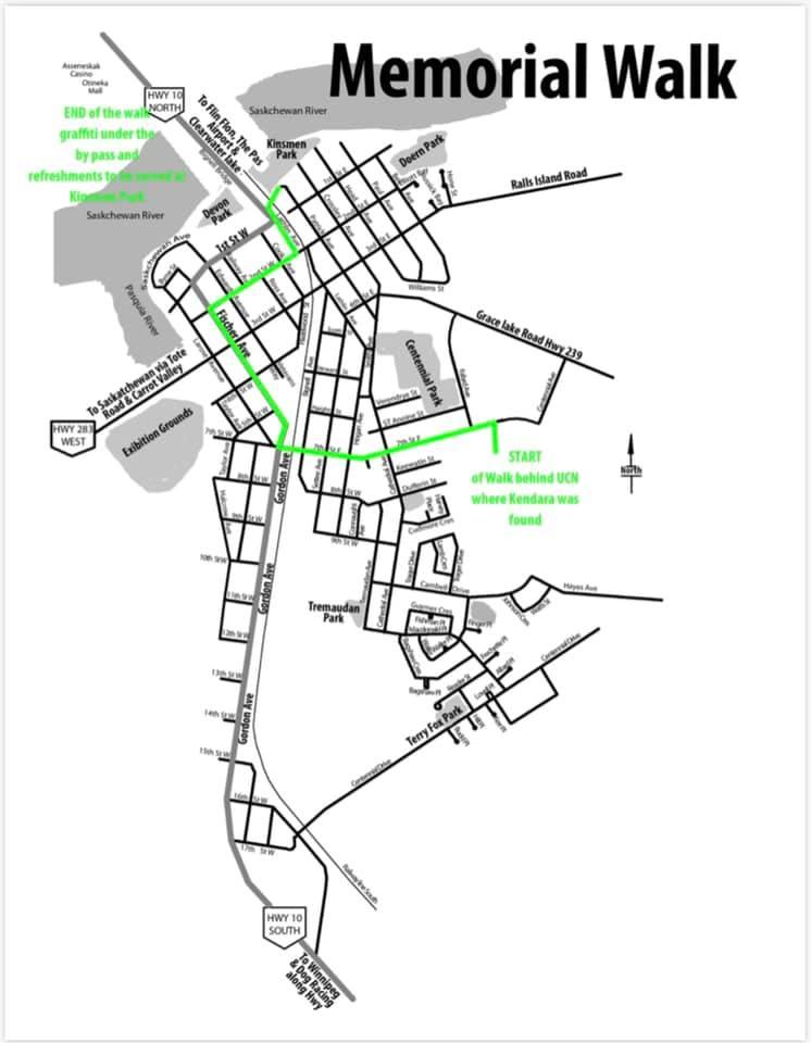 A map of the route for the Kendara Ballantyne Memorial Walk