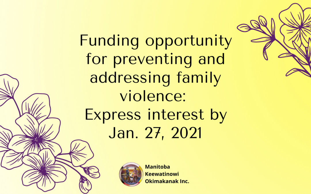 Funding opportunity for preventing and addressing family violence: Express interest by Jan. 27, 2021
