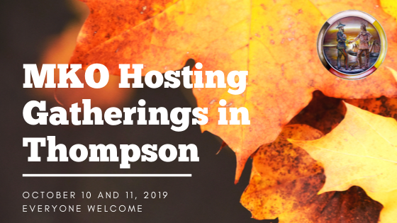 "Fall leaves with the words ""MKO Hosting Gatherings in Thompson"""