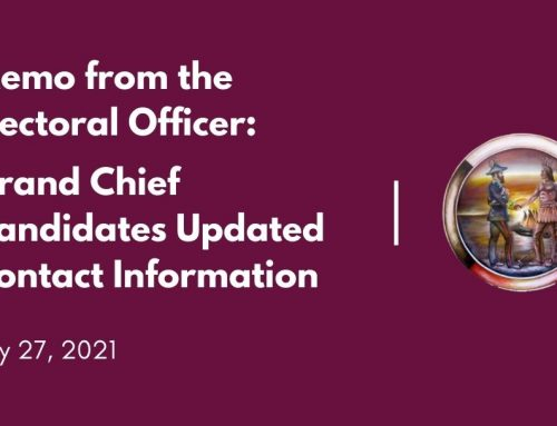 Memo from the Electoral Officer: Grand Chief Candidates Updated Contact Information