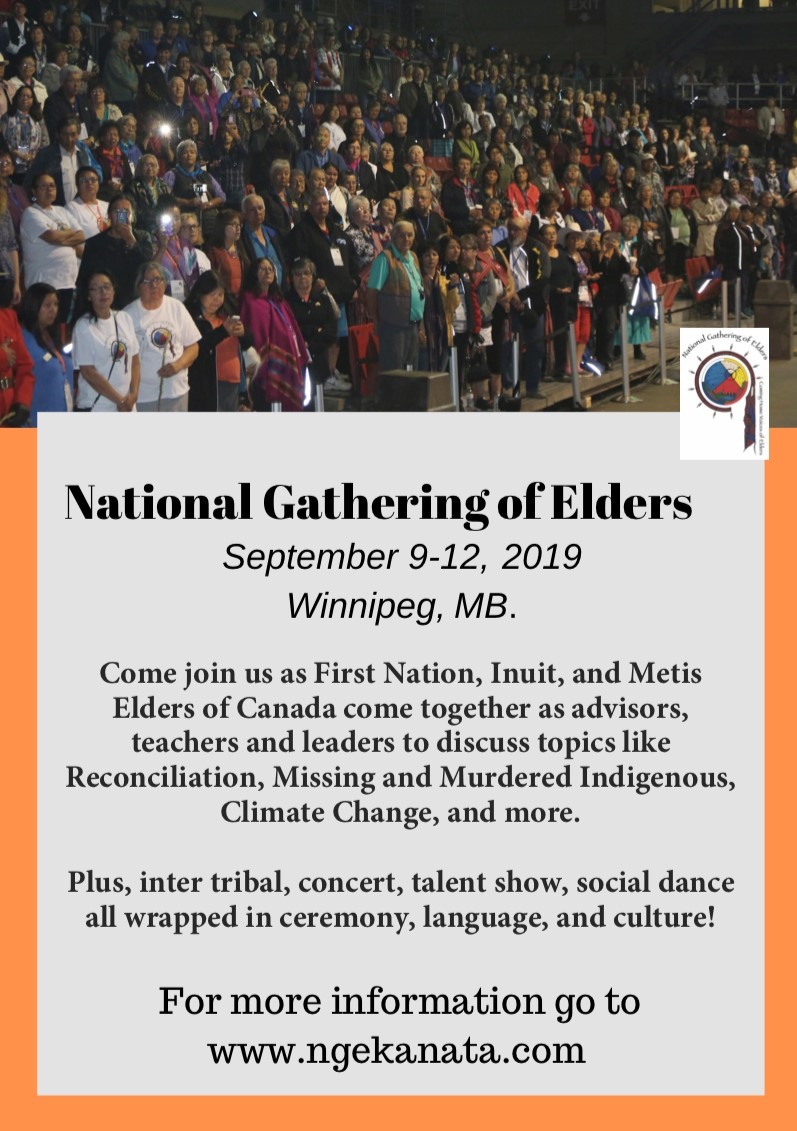 A poster about the National Gathering of Elders