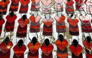 Red stained glass dresses