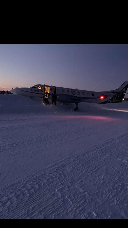 A photo of the Perimeter jet in the snow